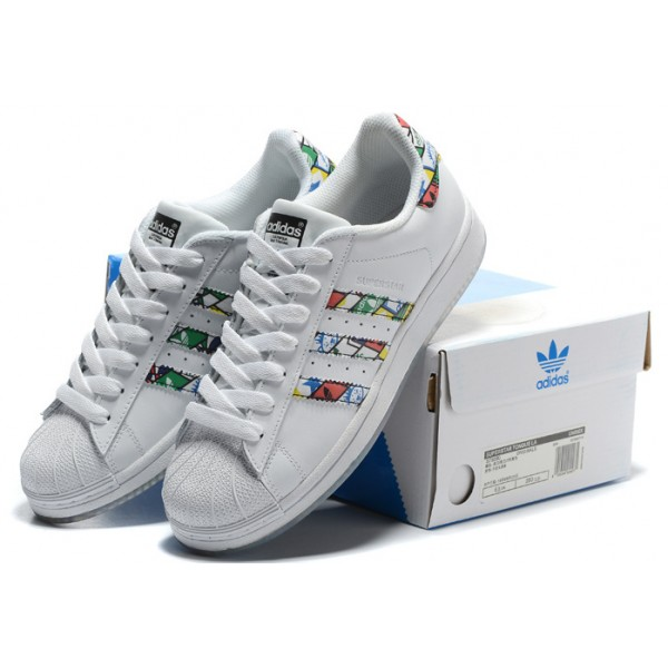 Femmes Adidas Superstar II 2 W (blanc rose couleur) 098 270