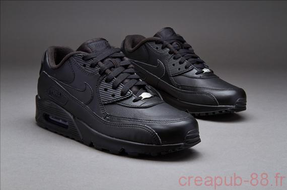 hot sale online 13c01 2090e Homme Cuir Nike AIR MAX 90 LEATHER Noir Baskets mode Prix Raisonnable Nike  Air max 90 cuir homme NOIR ... Nike Air 0i  S Max 90 Homme Bleu Alainhemet .