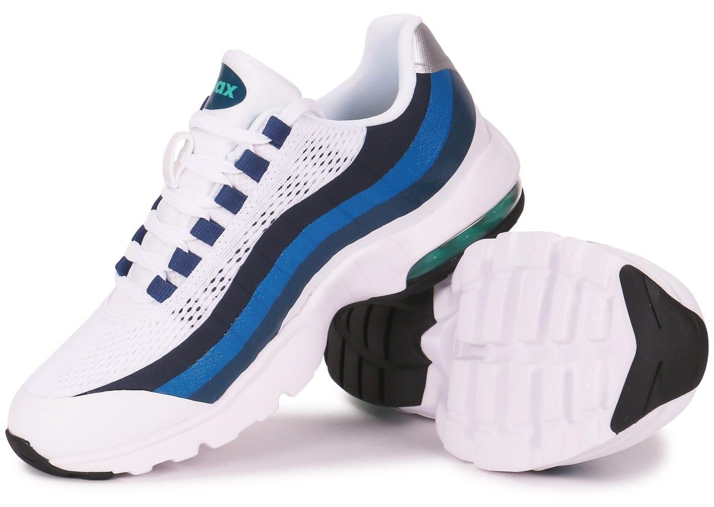 timeless design 02c69 1351f Cliquez pour zoomer Chaussures Nike Air Max 95 Ultra Blanche Et Bleue vue  extérieure .