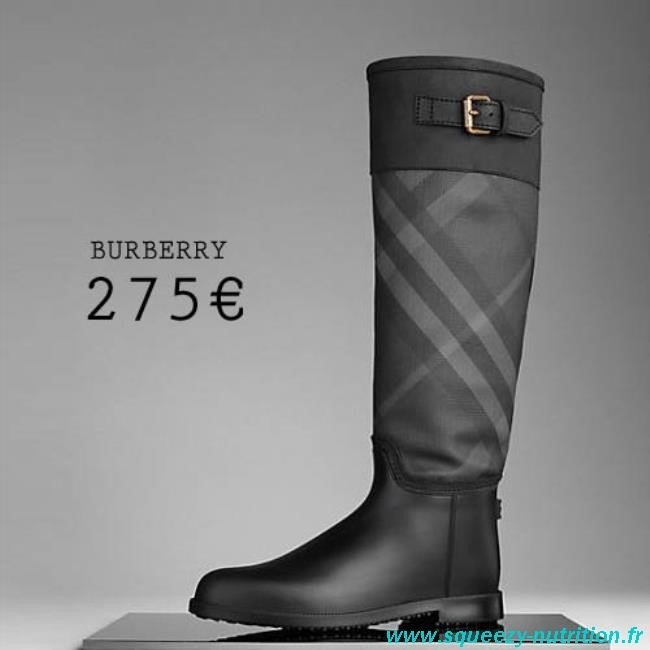 3b0fcfdf7db Burberry Bottes de pluie ceinturées avec éléments check homme Chaussures  Noir