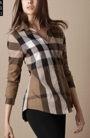 591bc9bd863d ... burberry femme brurberry chemise femmes 2014 populaire pour raye pas  cher 8001 gris .